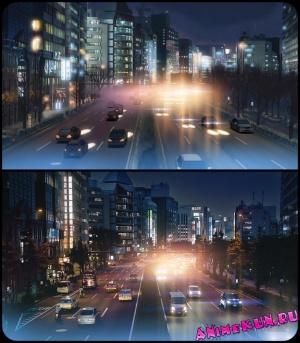 Городские пейзажи Shinjuku, Tokyo. Из аниме 5 сантиметров в секунду